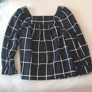 JCrew square neck blouse. 3/4 sleeves.